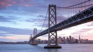 Sunset over Bay Bridge and San Francisco Skyline, California